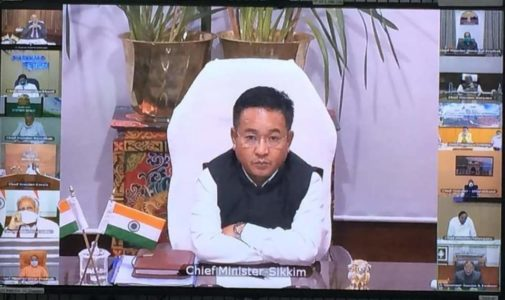 Covid 19 : Sikkim CM takes part in PM's Live! VC session from NIC Hub Sikkim, Gangtok